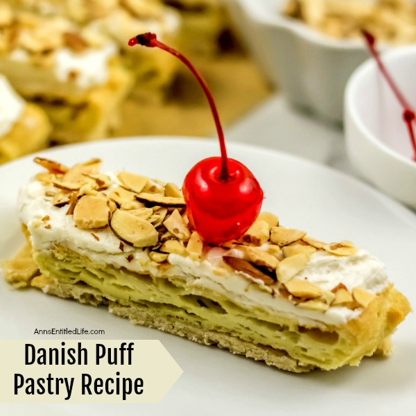 Danish Puff Pastry Recipe. This delicious Danish Puff Pastry Recipe is quite old; my Grandmother made it for as long as I can remember, and I have been making it for over 35 years myself.  This simple to make puff pastry recipe is a fantastic coffee Danish to serve friends and family for dinner, breakfast, or get-togethers.