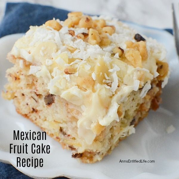 Mexican Fruit Cake Recipe. This is my grandmother's Mexican Fruit Cake recipe. It is a moist, delicious, and easy to make cake that I hope your family will enjoy as much as mine does. The next time you need a fabulous cake recipe for family or guests, give this wonderful Mexican Fruit Cake a try.