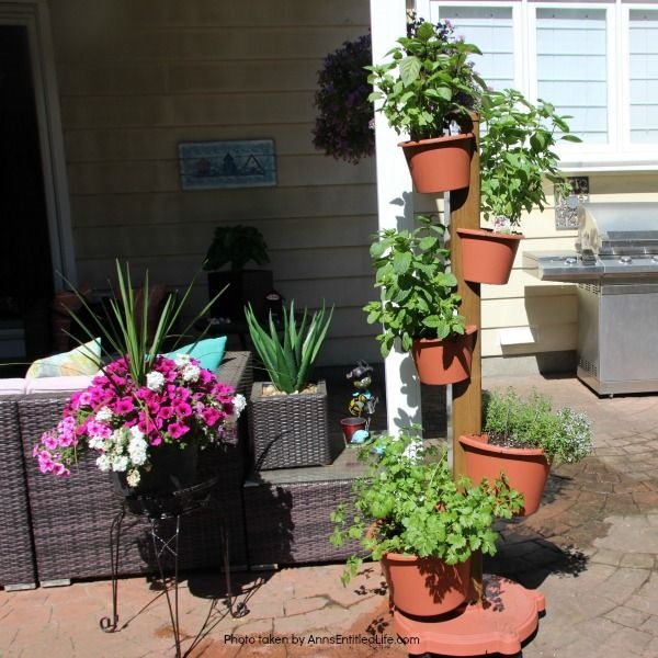 Spring Container Gardening. Experimenting with container gardening. Garden tower of herbs.