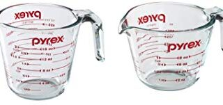 Pyrex Prepware Measuring Cup, Clear with Red Measurements, Set of 1-Cup and 2-Cup