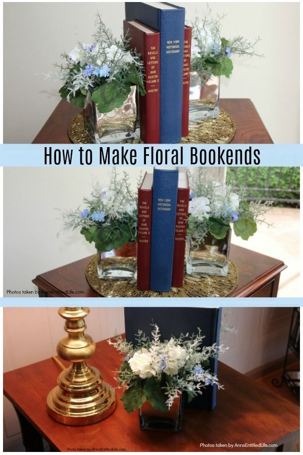 How to Make Floral Bookends. These decorative bookends are so easy to make! In less than 15 minutes you can make a set of unique bookends to match your room decor or to give as a gift (a great teacher gift!). Highly customizable, these step by step instructions will show you how to make floral bookends for any season, color scheme, or decorating taste.
