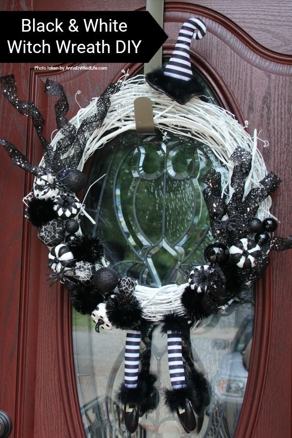 Black and White Witch Wreath DIY. Make your own witch wreath for Halloween this year using these easy step-by-step tutorial instructions. This monochromatic black and white witch's door decor wreath is simple to make, and look oh so elegant. Seriously. Elegant Halloween decor! Who would have thought! Get the straightforward instructions below!