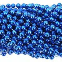 33 inch 07mm Round Metallic Royal Blue Mardi Gras Beads - 6 Dozen (72 necklaces)