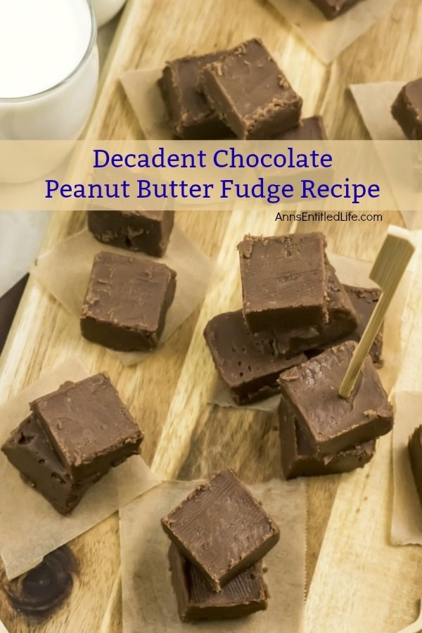 Decadent Chocolate Peanut Butter Fudge Recipe. Mmmm fudge! Nothing beats homemade fudge, and this decadent chocolate peanut butter fudge recipe is simply divine. This is one easy to make fudge recipe (honestly, it is so simple to prepare!) that is truly a rich and delicious treat. Whether you are making fudge for the holidays, a gift, or simply as a lovely confection to have in your house, this chocolate peanut butter fudge recipe is one you will want to make and share again and again.