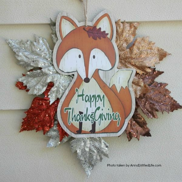 Dollar Store Craft: Easy Thanksgiving Door Hanger DIY. An inexpensive, festive, Thanksgiving door craft perfect for side doors, classroom doors, or anywhere where a flat door hanger is needed.