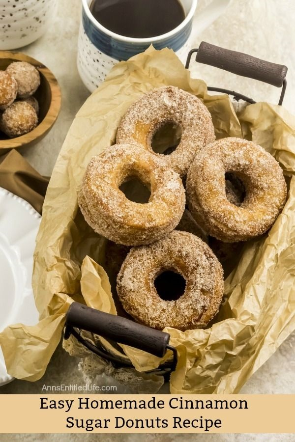 Easy Homemade Cinnamon Sugar Donuts Recipe. Easy, delicious, fresh and tasty homemade donuts! What could possibly be better? Now you can make your own donuts with this easy 4-ingredient step-by-step tutorial. They taste like the old-fashioned donuts Grandma used to make, only these are prepped and ready in no time flat! Try this easy homemade cinnamon sugar donuts recipe this week for breakfast. Your entire family will be glad you did!