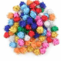 ALL in ONE Assorted Color Glitter Sparkle Pom Poms for Craft DIY (20MM)