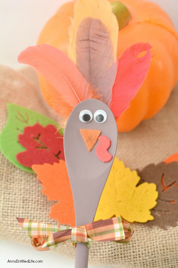 Using these step-by-step instructions, this simple to make Turkey Spoon Puppet Craft comes together in no time flat! Perfect to use as a puppet, or for more adult decor in centerpieces or flower pots, of as a take home party favor, this adorable wooden spoon craft is a delightful Thanksgiving turkey craft.