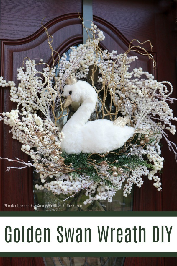 Golden Swan Wreath DIY. This stunning wreath takes only 15 minutes to make! Perfect for so many holidays, party functions (think bridal or shower), or as a year-round wreath with a bit of bling, this unusual swan wreath is lovely wall décor or door décor!