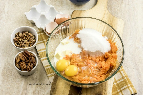 Sweet Potato Casserole Recipe. A delicious, easy to prepare sweet potato casserole recipe you entire family will enjoy. This classic sweet potato recipe is a wonderful side dish that pairs well with turkey, chicken or pork.