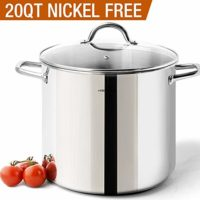 HOMi CHEf Commercial Grade Stainless Steel Stock Pot 20 Quart With Lid/Nickel Freee Stainless Steel Non Toxic Cookware Stockpot 20 Quart/Large Heavy Duty Stock Pots For Cooking