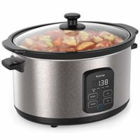hOmeLabs 6 Quart Slow Cooker Pot - Digital Programmable Slow Cooker Crock - 10 Hour Timer Auto Shut Off and Instant Food Warmer - Oval Nonstick Removable Crock Stoneware and Stainless Steel Exterior