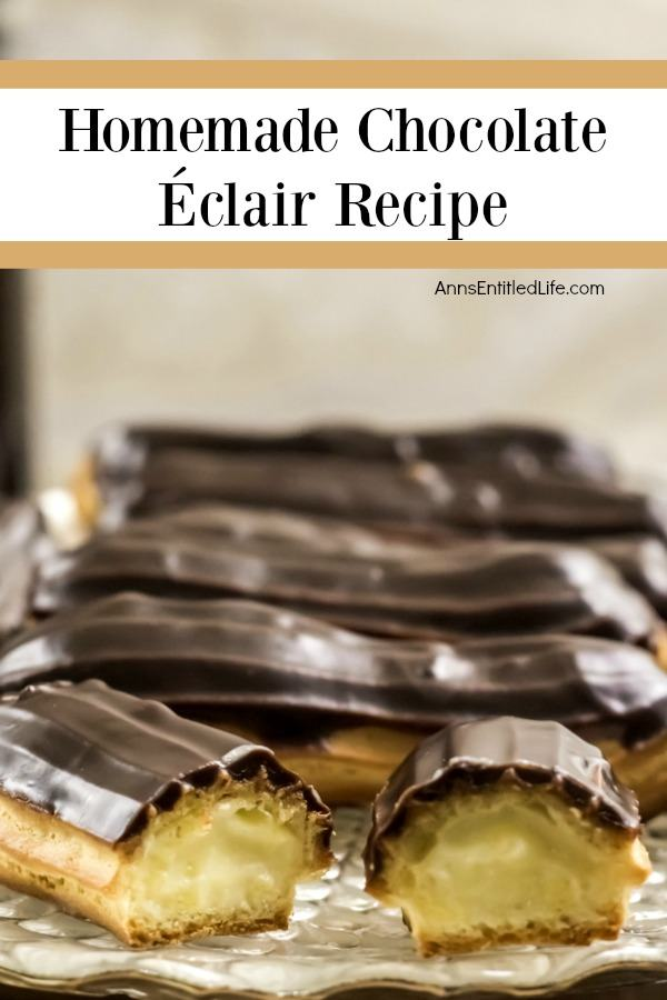 Homemade Chocolate Eclairs Recipe. There is no more sophisticated pastry than an eclair! From filling a holiday dessert tray, to an elegant shower confection, or simply passed around at a party on a tray, this homemade chocolate eclair recipe will satisfy and impress with its creamy rich filling, and slightly sweet chocolate ganache topping. These homemade chocolate eclairs are an outstanding dessert perfect for any occasion.