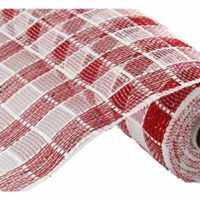 "Plaid Check Deco Poly Mesh Ribbon- 10"" x 10 Yards (Red, White)"