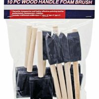 Rock Ridge Tools Variety Pack of Foam Sponge Wood Handle Paint Brush Set (Value Pack 10). Lightweight, Durable and Great for Acrylics, Stains, Varnishes, Crafts and Art Projects for Kids and Adults