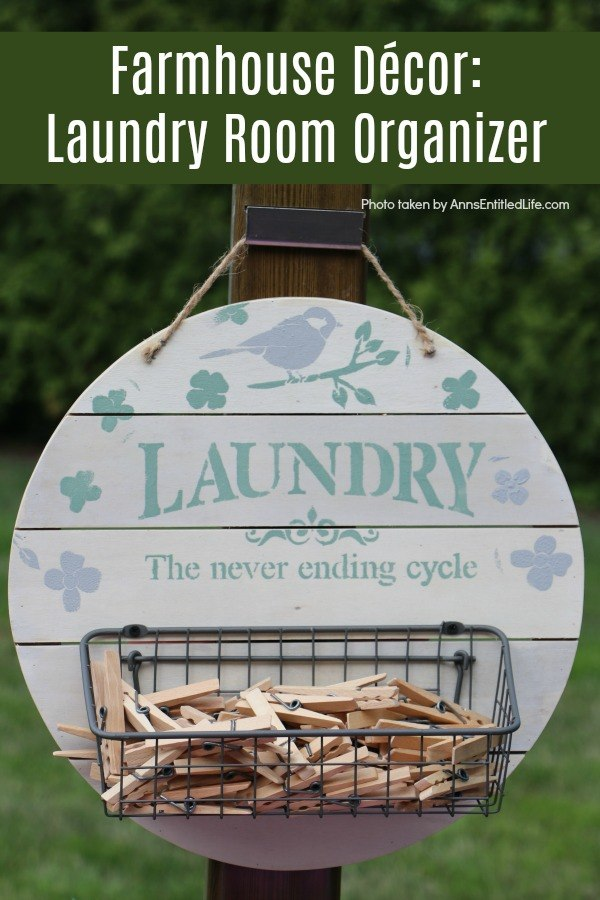 painted laundry room and bird stencil on a rustic tray with basket and clothespins