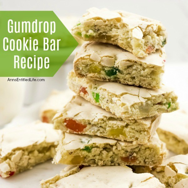 Gumdrop Cookie Bar Recipe. If you do not have a lot of time this holiday season (and who does?) this simple cookie bar is the perfect holiday treat to make for holiday gathering, lunchboxes, school treats, or to bring into the office. Festive, fun, and a snap to make, these Gumdrop Cookie Bars are great for children and adults alike.
