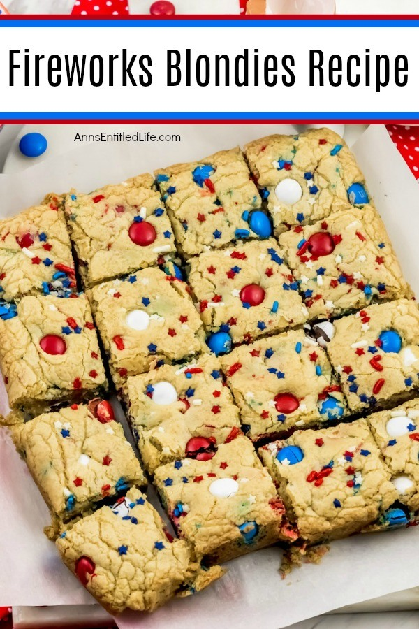 festive red, white, and blue blondies bars on a white plate