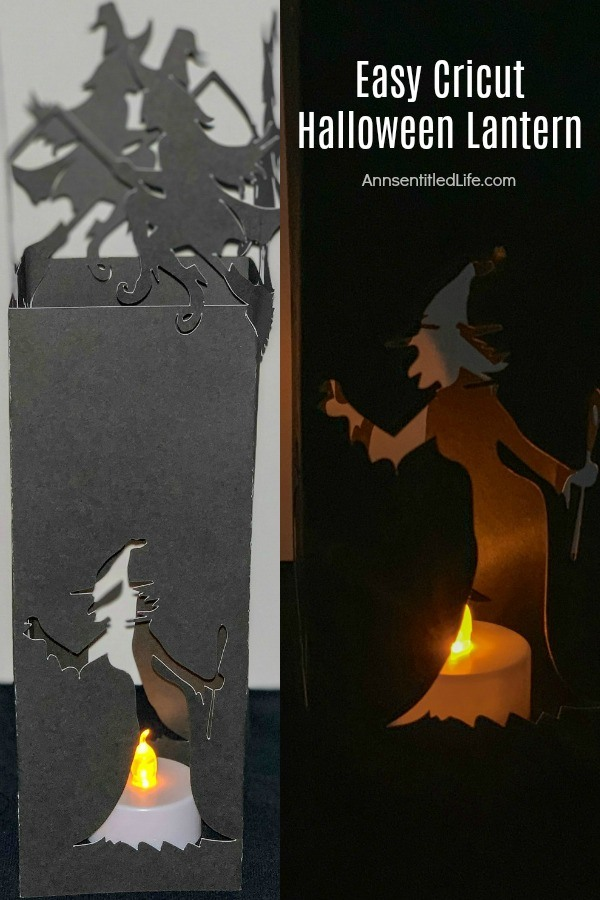 black paper witch lantern with tealight flame-less candle