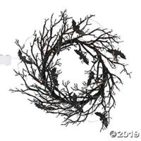 Black Bat Light Halloween Wreath (26 Inch Diameter) Halloween Decorations