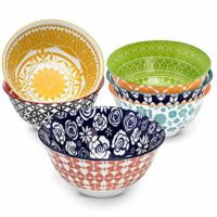 Annovero Cereal Bowls – Set of 6 Porcelain Bowls for Soup, Salad, Rice, or Pasta, 6.25 Inch Diameter, 23 Fluid Ounce (2.75 Cup) Capacity