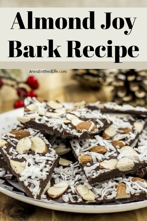 Almond Joy Bark Recipe. With all the classic flavors of an Almond Joy candy bar, this bark is rich and satisfying. Sweet coconut and decadent chocolate form the ultimate candy bark. This almond joy bark makes a perfect food-gift or a great addition to a holiday cookie platter or confection tray!