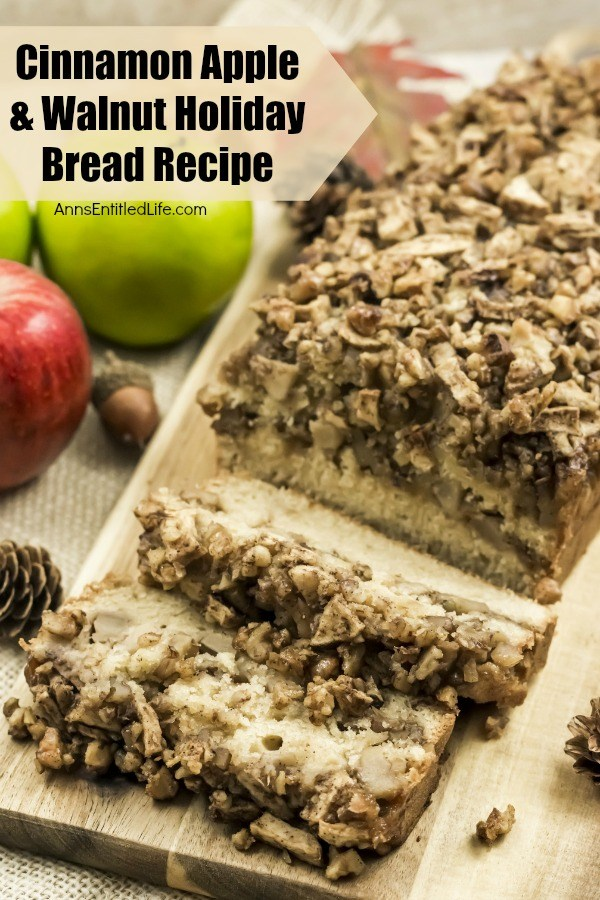 Cinnamon Apple and Walnut Holiday Bread Recipe. This great tasting cinnamon apple and walnut bread is perfect for breakfast, after-dinner dessert, or with a cup of coffee in the evening. The apple cinnamon combination makes this is a wonderful fall and winter loaf bread; the walnuts add some great texture. Moist and delicious, this is a fantastic, easy to make, loaf bread recipe.