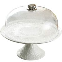 Jusalpha 12 Inches White Ceramic Decorative Cake Stand-Cupcake Stand with dome (CS01 - Plastic dome)