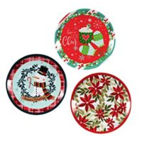 "Set of Three Large Round Christmas Holiday Design Melamine Platter Dishes 13.75"" D (Snowman, Poinsettia & Hot Cocoa)"