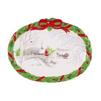 Fitz and Floyd 49-592 Vintage Holiday Cookie Platter Winter Scene, White