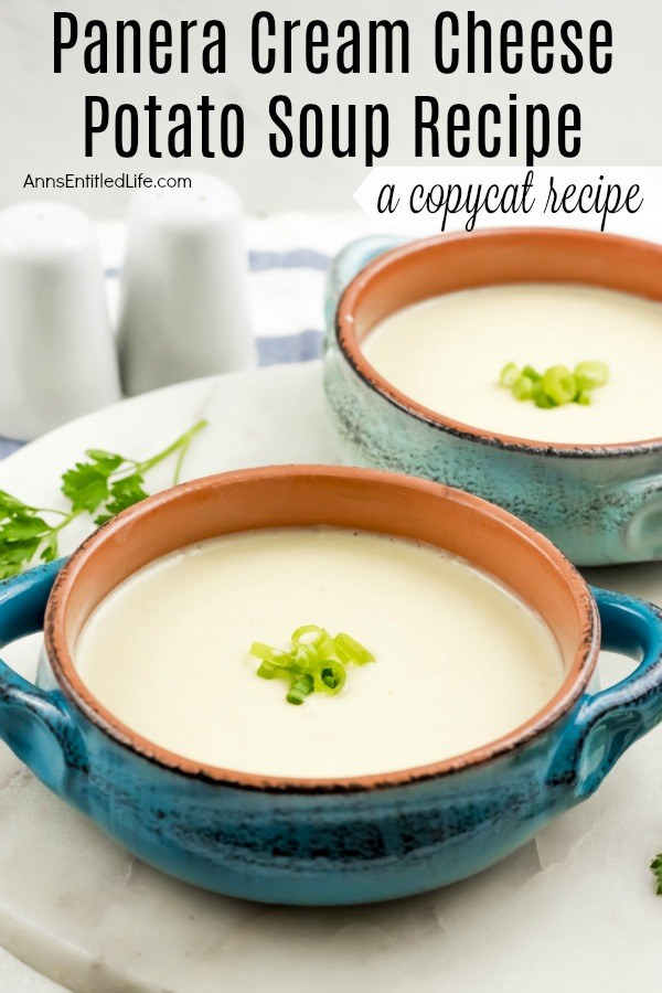 Copycat Panera's Cream Cheese Potato Soup Recipe. This copycat Panera Cream Cheese Soup Recipe is simply outstanding. Easy to make, this recipe can be doubled or tripled, and freezes beautifully. If you are looking for an excellent potato soup recipe, make this - it is fantastic!