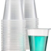 Durable, 3 OZ Plastic Shot Glasses/Clear Plastic Cup/Jello Shot Cups/Great For Bathroom/Tasting/Samples/Disposable, Clear and Fully Transparent. (100 Cups)