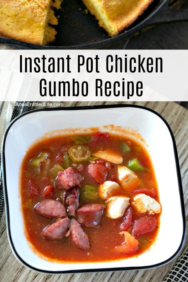 white bowl with blue rim filled with chicken gumbo, cornbread in a pan with one piece removed, atop of weathered tabletop