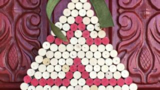 Wine Cork Christmas Tree Wall Hanging; Upcycled Holiday Decor