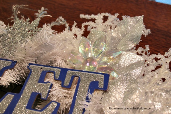 Let It Snow Wreath. This beautiful, blingy let it snow wreath is so easy to make! If you are looking for a fun and simple winter craft project to hang on your front door or over your fireplace mantel, you will want to make this sparkly winter wreath.