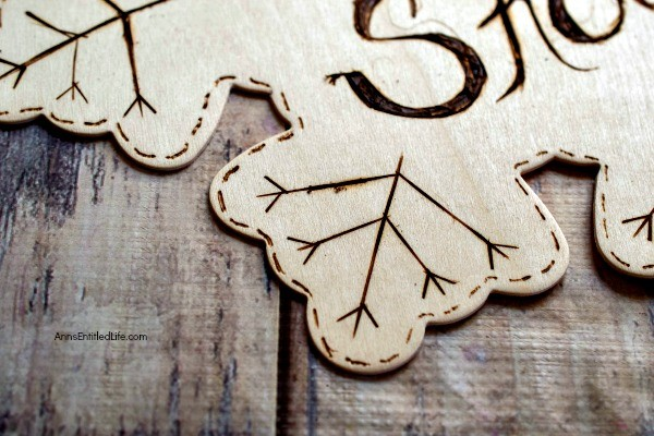 Wood Burned Snowflake Craft. Looking for some great winter decor? These easy to make wood burned snowflakes will look great hanging in your window, from a lamp or chandelier, or decorating your cupboards.