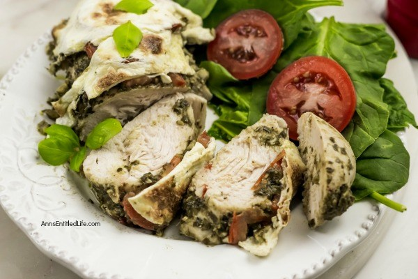 Baked Pesto Caprese Chicken Recipe. This easy-to-make, 5-ingredient, quick prep, baked pesto caprese chicken recipe packs a lot of great taste in a simple recipe. Tender, juicy chicken baked in a pan and smothered with fresh mozzarella... mmmm it's so good! Only you will know how little effort goes into preparing this great tasting chicken dinner.