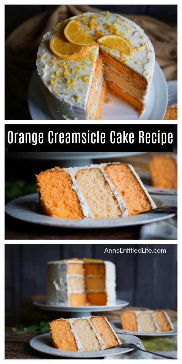 three photos stacked on top of one another: first photo is frosted orange creamsicle cake with a piece removed, the second photo is a profile piece of orange creamsicle cake on a grey plate, the third photo is two pieces of plated orange creamsicle cake, the remaining three-tier cake is on a white cake plate behind the pieces of served cake