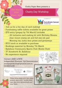 Ann's PaperWorks Ann Lewis Charity Card Day (Brisbane) 19 March 2016, supporting Cure Brain Cancer Foundation