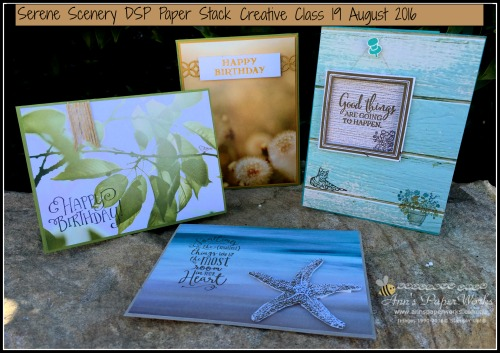 Serene Scenery Creative Card Class August, Stampin' Up! Ann's PaperWorks Ann Lewis Stampin' Up! (Aus)