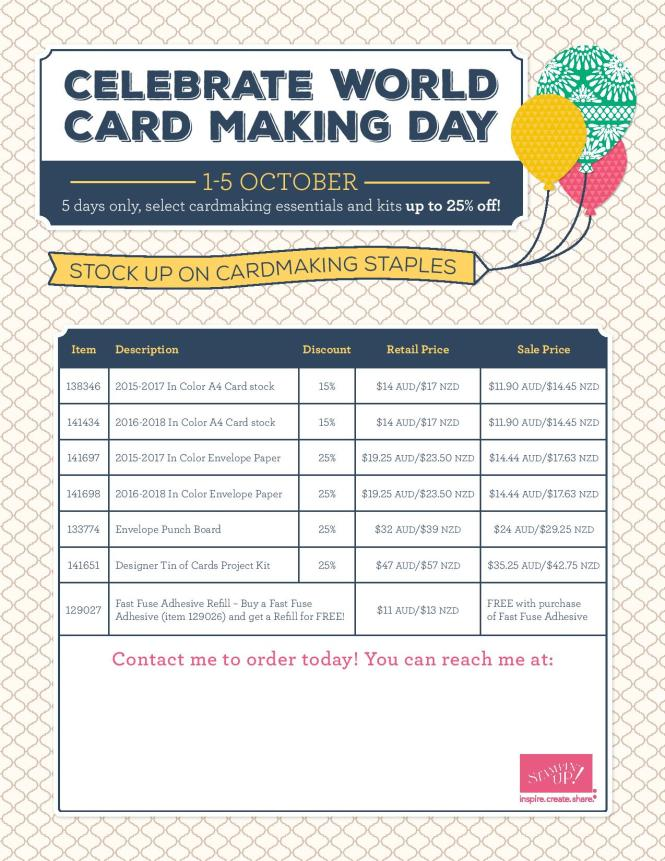 World Cardmaking Day Specials 1-5 October 2016, WCMD, Ann's PaperWorks| Ann Lewis| Stampin' Up! (Aus) available from my online store 24/7