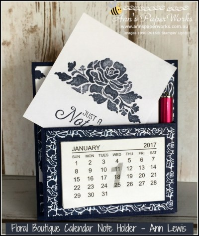 Floral Boutique Calendar Note Holder, easy handmade Christmas gift, details on blog, Ann's PaperWorks| Ann Lewis| Stampin' Up! (Aus) available from my online store 24/7