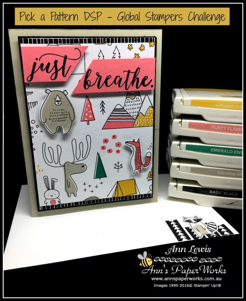 Pick a Pattern Designer Series Paper Holiday Card for the Global Stampers Challenge, Ann's PaperWorks| Ann Lewis| Stampin' Up! (Aus) available from my online store 24/7