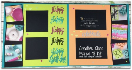 Picture Perfect Party Scrapbooking Layout, class kit, double page layout, four photo layout, Happy Birthday Thinlits, Mixed Media included, Stampin' Up! Ann's PaperWorks Ann Lewis Stampin' Up! (Aus)|Scrapbooking/Project Life class, CASE Dori Thompson Schneider