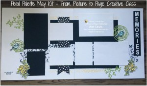double page scrapbooking layout, seven photo layout, Petal Palette Stamp Set, Petal Passion DSP, black and white layout, memories, Stampin' Up! Ann's PaperWorks Ann Lewis Stampin' Up! (Aus) Scrapbooking/Project Life class, online store