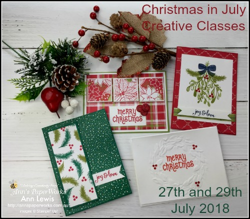 Christmas in July, shoebox class, Under the Mistletoe Suite, Stampin' Up! 2018-19 Catalogue Ann's PaperWorks  Ann Lewis  Stampin' Up! (Aus) online store 24/7, Christmas cards