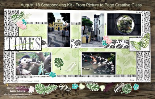 double page scrapbooking layout, amazing times, Tropical Chic Stamp Set, Tropical Escape Designer Series Paper, Stamparatus, Springtime Impressions Framelits, Tropical Thinlit Dies, Stampin' Up! 2018-19 Catalogue Ann's PaperWorks| Ann Lewis| Stampin' Up! (Aus) online store 24/7