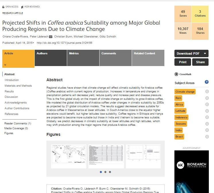 Cambios proyectados en la aptitud de Coffea arabica entre las principales regiones productoras a nivel mundial debido al cambio climático