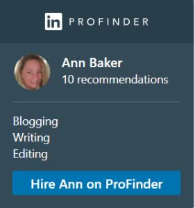 Ann V Baker LinkedIn Profinder Badge