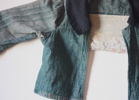 antique teal  flannel garment - detail